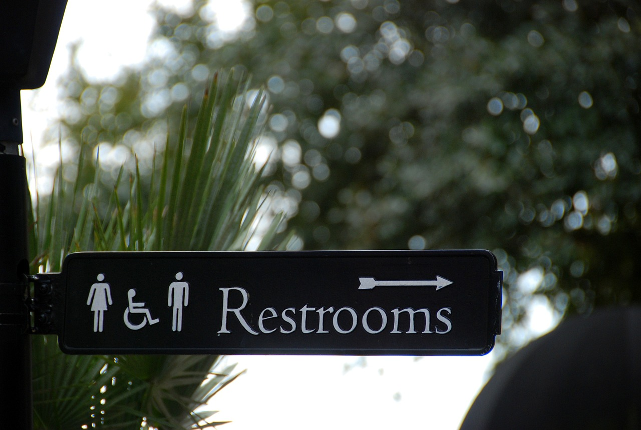 Sign for Restrooms - travelling on your period